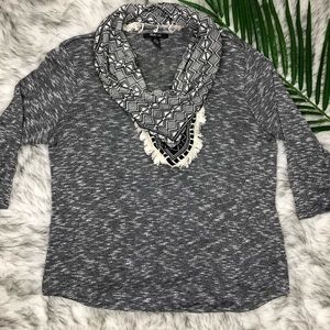 Style and Co Womens Top with Attached Scarf Gray L